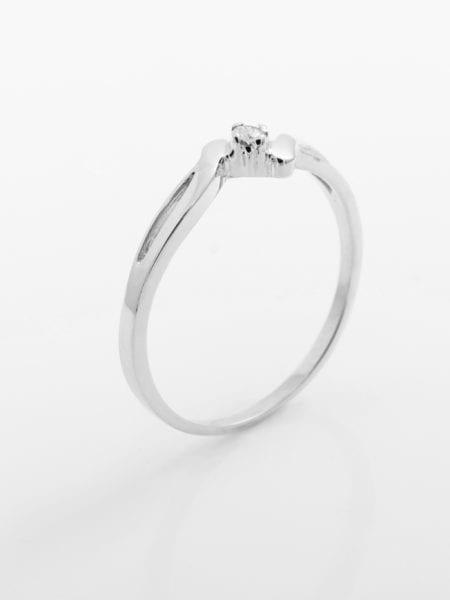 Zásnubní prsten s přírodním diamantem Laguna – Bílé zlato