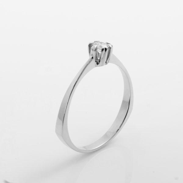 Zásnubní prsten s přírodním diamantem Queen Bílé zlato
