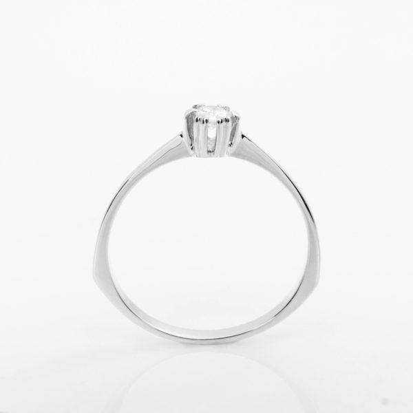 Zásnubní prsten s přírodním diamantem Queen – Bílé zlato
