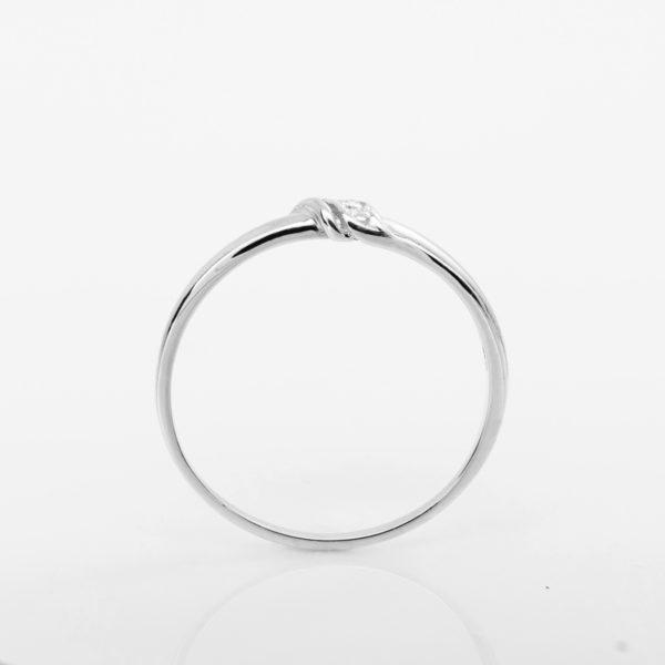 ásnubní prsten s přírodním diamantem Pearl – Bílé zlato