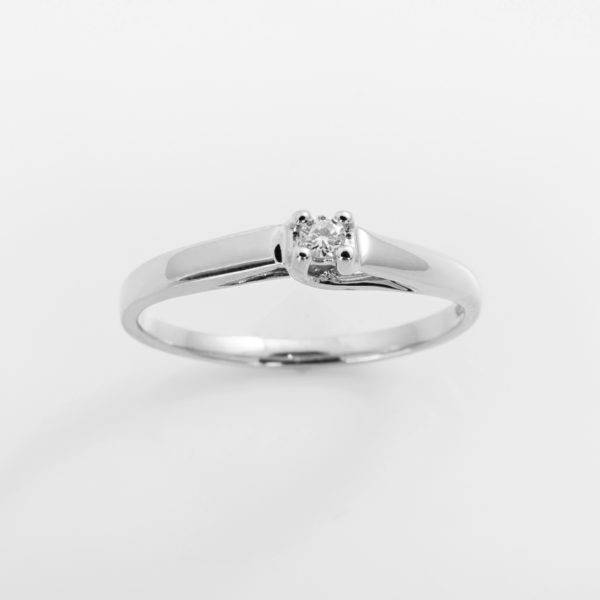 Zásnubní prsten s přírodním diamantem Olymp – Bílé zlato